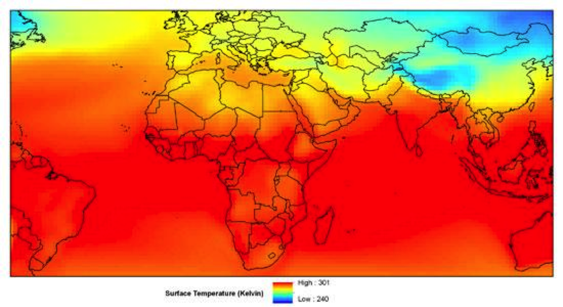 Global projections of surface temperature monthly mean for January 2099