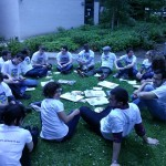 Image of the group having a picnic in Pollock Halls, Edinburgh