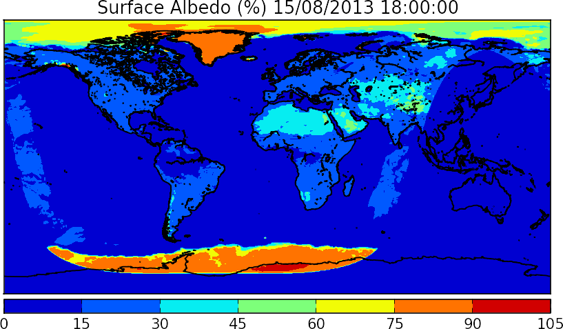 This figure shows global Earth Albedo (%) for August 15th, 2013 (Time is given in UTC). Albedo is the amount of radiation sent by the Earth back to space.