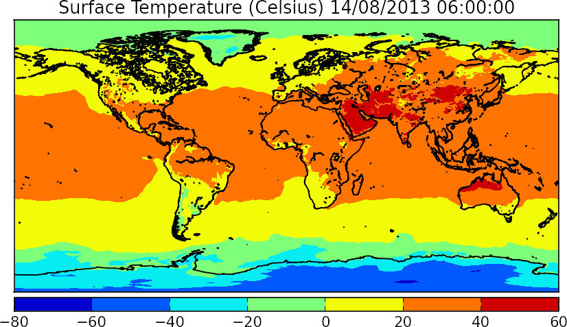 This figure shows global Earth surface temperatures for August 14th, 2013 (Time is given in UTC). You can notice that temperature around the ocean are pretty constant and cold closer to the poles. The equator shows hotter temperatures, whereas desert areas in Asia and northern Australia have a record of 40-60 degrees (Celsius).