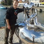 Helsingør - Lukas and the little mermaid. Me on the reflection.