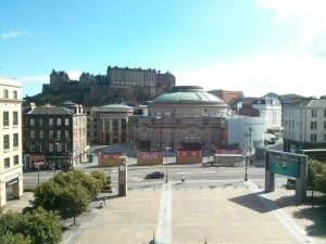 Usher Hall and a view to the Castle from Festival Square.