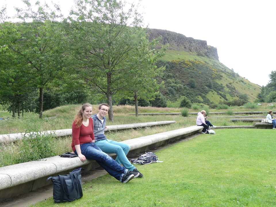 Ondrej and I in front of Holyrood Park