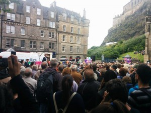 A view from the opening event of the jazz and Blues Festival in the Grassmarket.