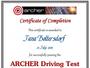 My certificate for passing the ARCHER Driving Test