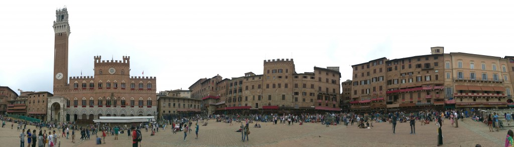Panoramic view of Piazza del Campo prepared for the Palio horse races.