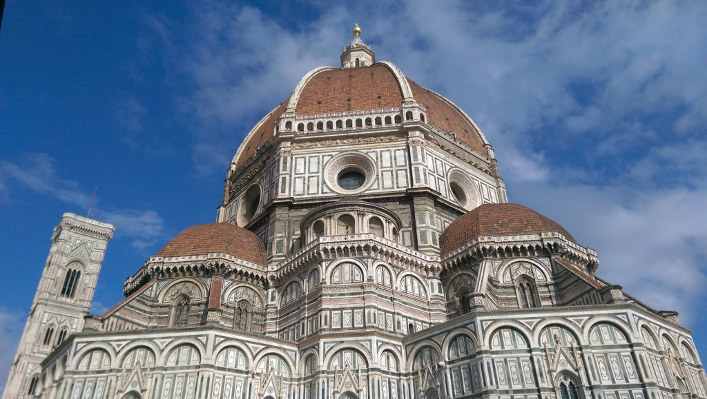 Florence Cathedral with the world's largest brick dome with radius of 43 meters.