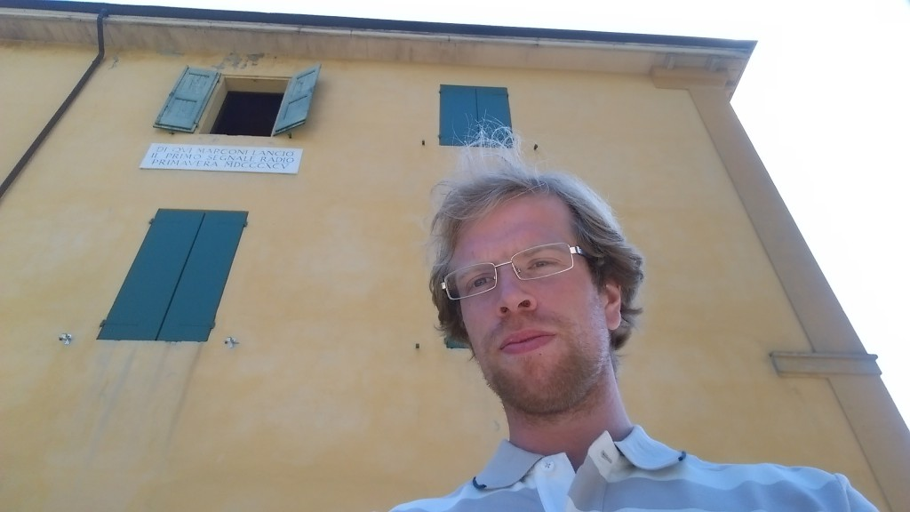 Me under the window of Villa Griffone in Sasso Marconi from where first wireless telecommunication signal was sent.