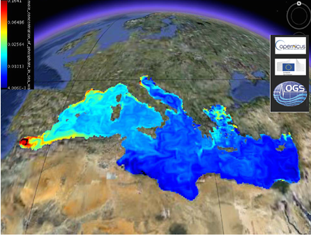 Snapshot of daily surface chlorophyll concentration (mg/m3) at 1/16 degree horizontal resolution on the Mediterranean Sea calculated from the OGSTM-BFM model. OGSTM-BFM is a coupled physical-biogeochemical model operated by OGS that weekly provides the marine biogeochemical products (analysis, forecasts and reanalysis) of the Copernicus Marine Environment Monitoring Service (CMEMS) catalogue (http://marine.copernicus.eu/web/69-interactive-catalogue.php). Other products are: phytoplankton biomass, phosphate, nitrate, primary production, oxygen, pH and pCO2.