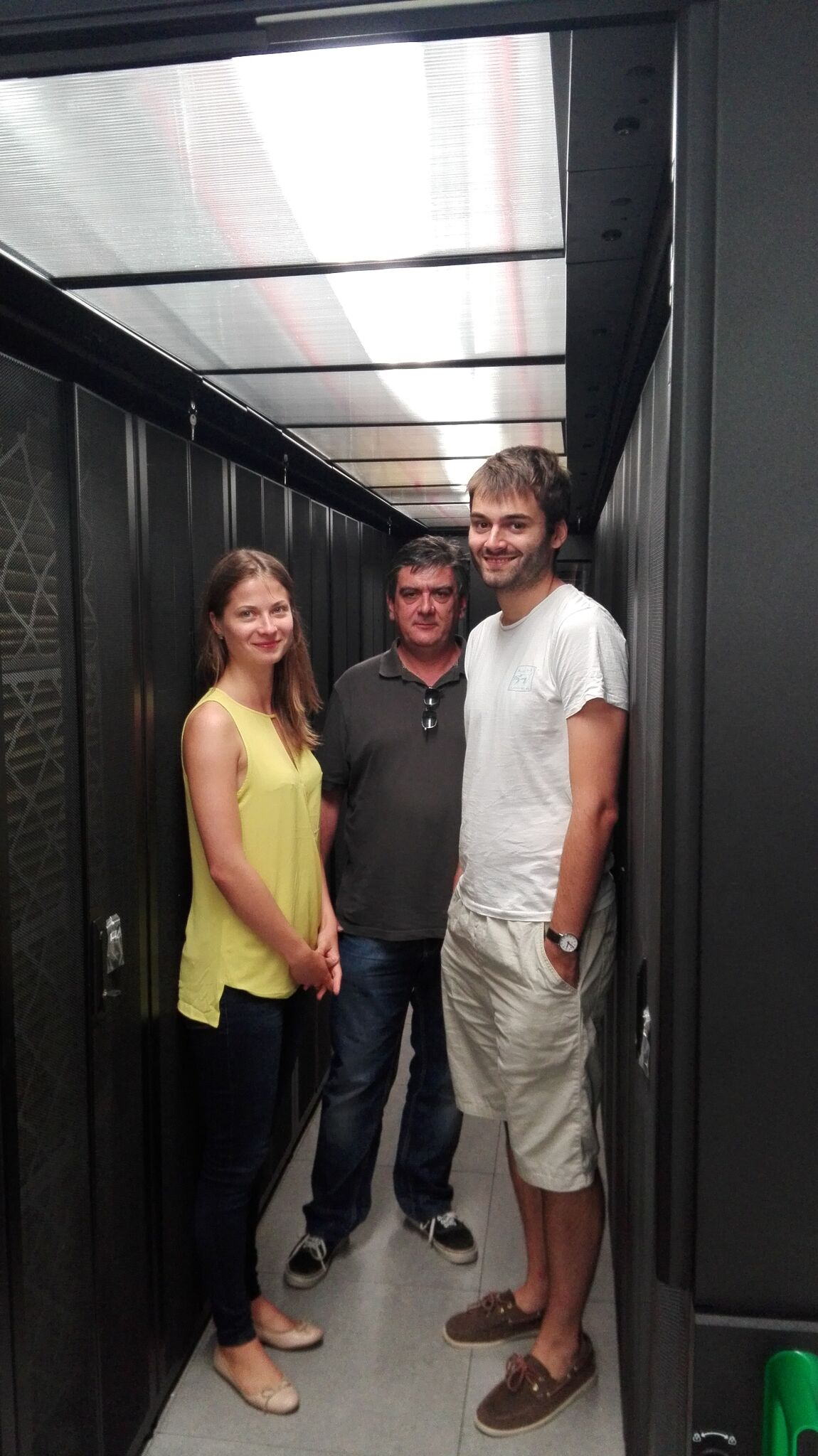 Visiting Aris supercomputer with Dimitris and Juan