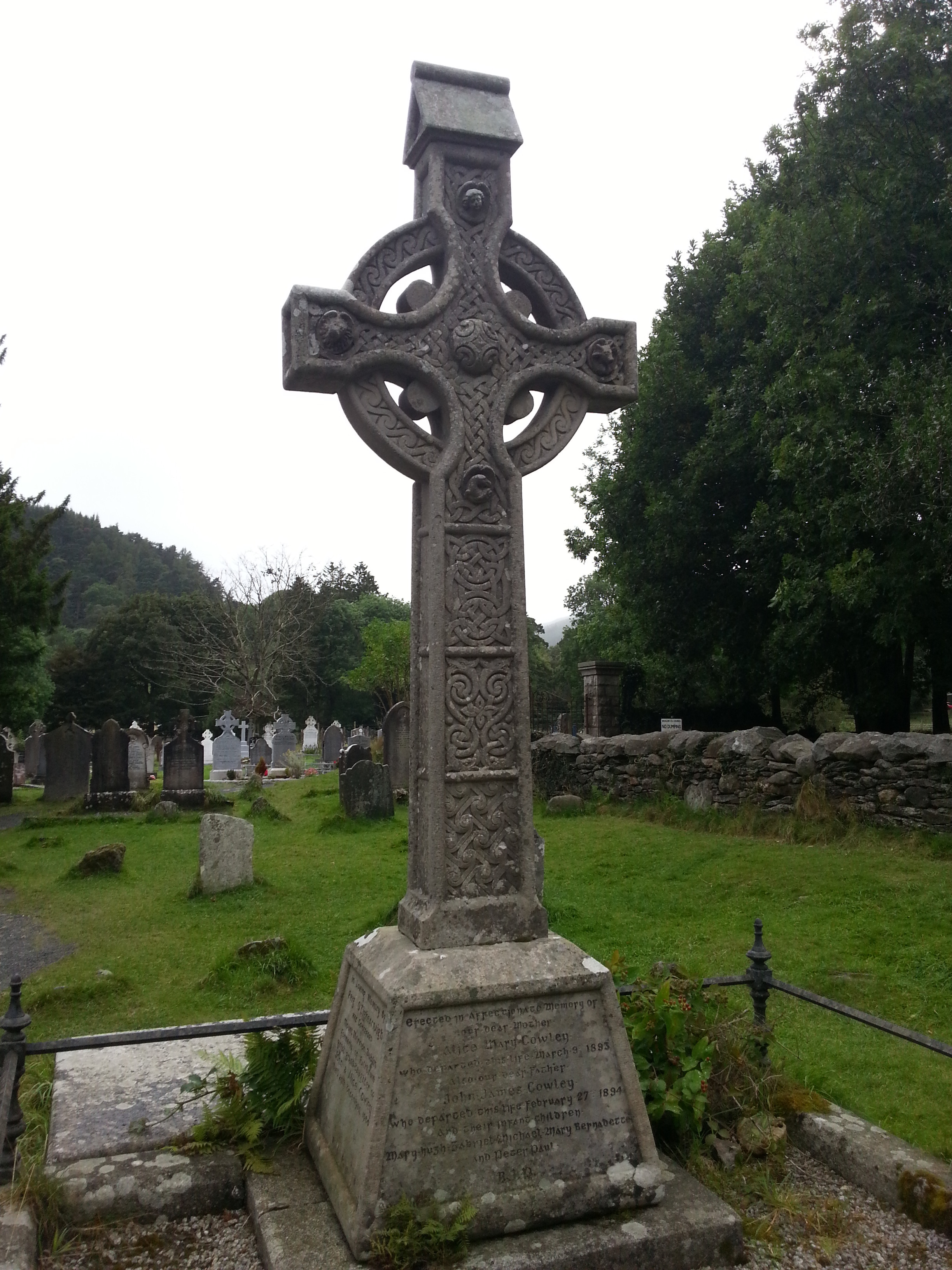 A celtic cross - a typically shaped cross with a circle, combining christian and celtic culture