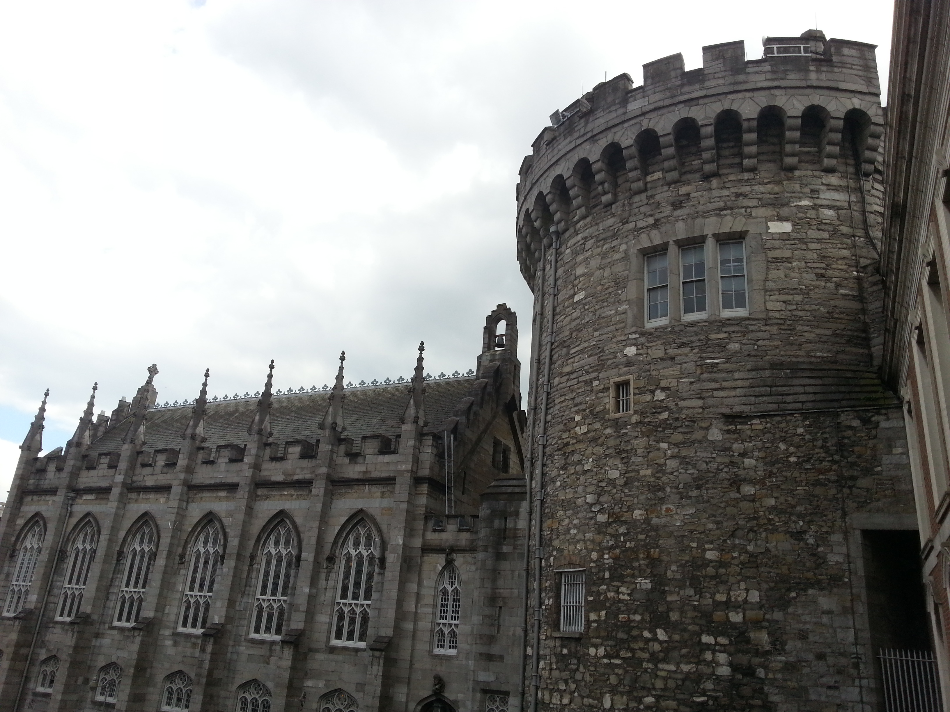 The Chapel Royal, and the Record Tower, the only part of the Dublin castle surviving from medieval times, built in 1228