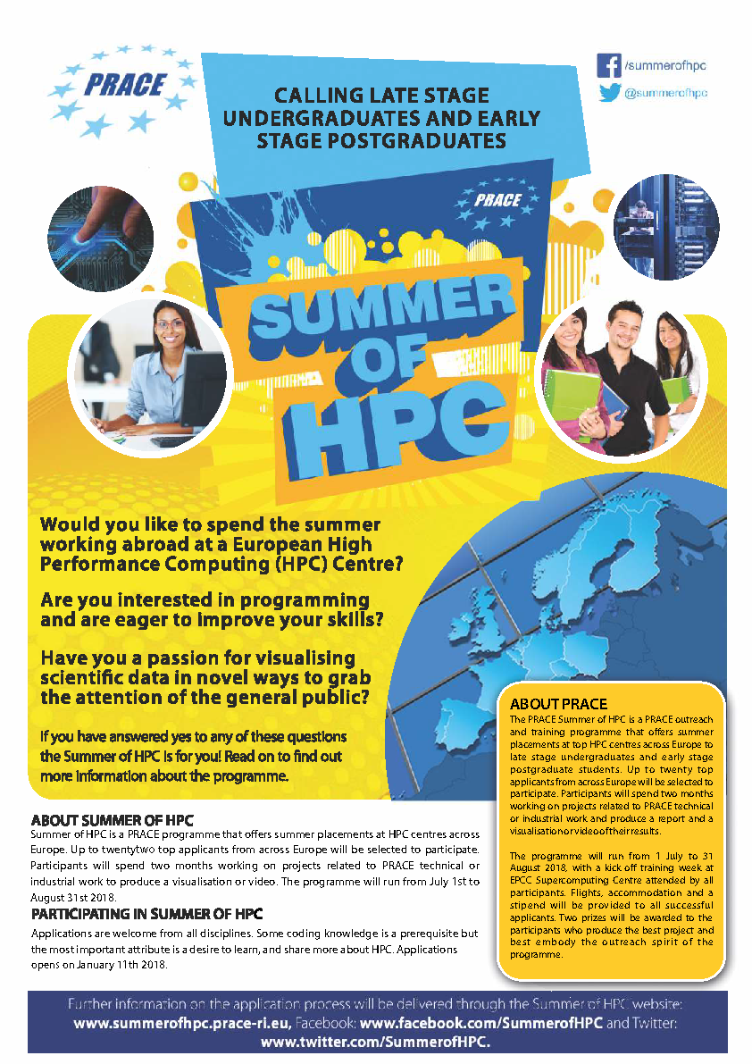 PRACE Summer of HPC 2018 opens applications